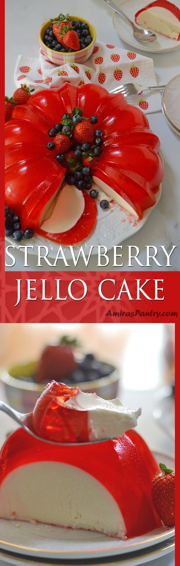 A luscious cream cheese sweet gelatin layer hugged by a strawberry jello and topped with fruits. A delicious no bake easy dessert that has the wow factor you need.#jello #valentinesday #strawberry #mothersday