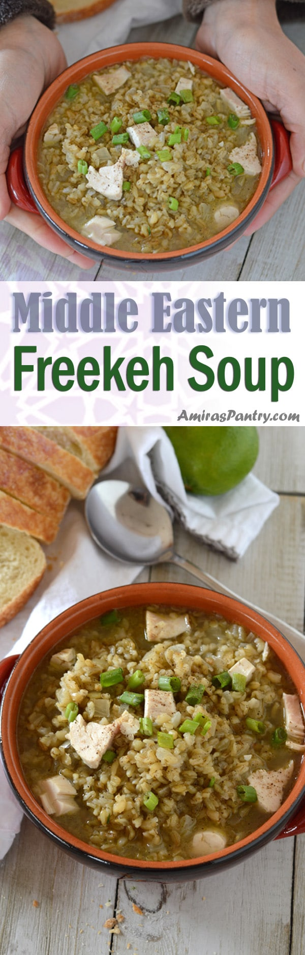 Freekeh soup in a bowl garnished with green onions.