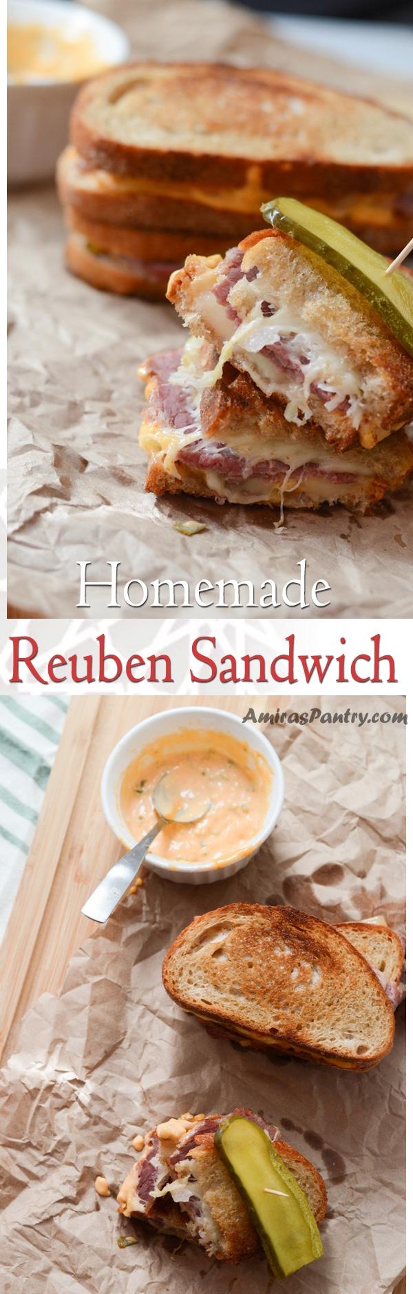An infograph for Reuben Sandwich recipe