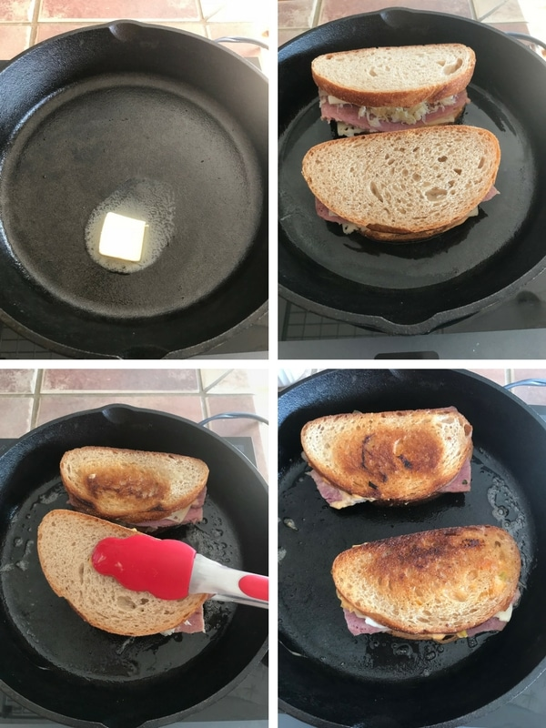 Melting butter in a skillet and making the sandwiches.