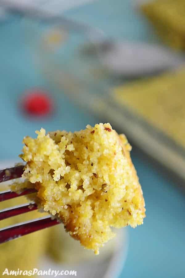A close up of a pistachio semolina cake