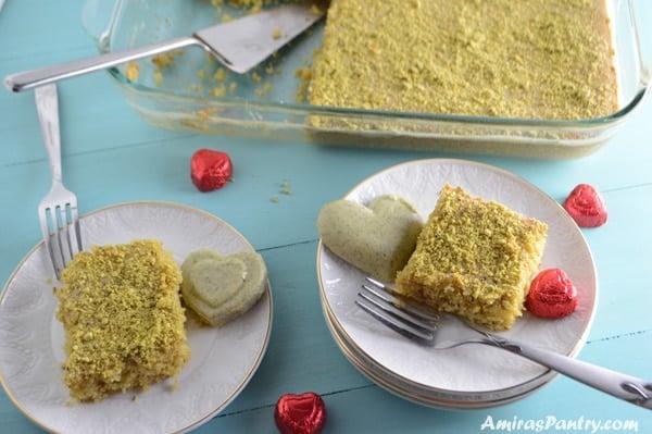 Pistachio Semolina Cake Recipe | Amira's Pantry
