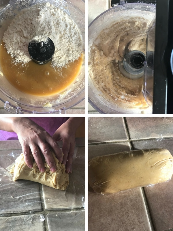 Steps of making the snickerdoodles. Now adding the dry ingredients in the bowl and mix. Hands kneading the dough and the dough is wrapped in plastic wrap.
