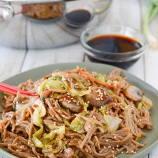 A plate of food, with Buckwheat and Yakisoba