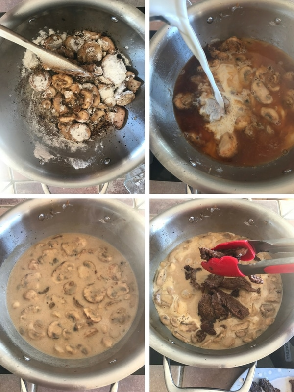 Step by step photos for making beef stroganoff
