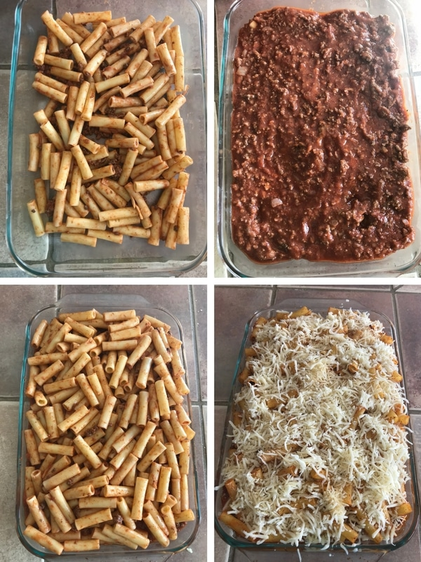 Step by step photos for Baked ziti Pasta