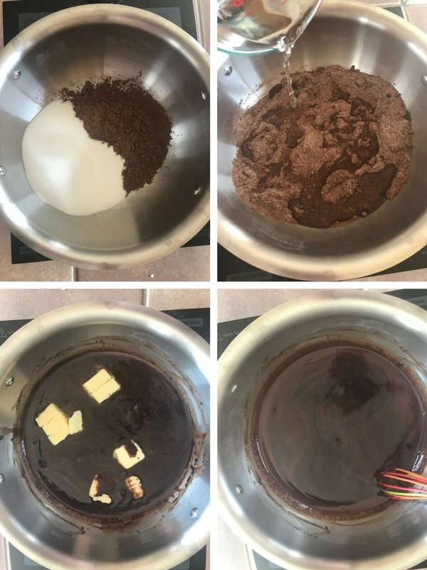 Making chocolate syrup for the no bake chocolate biscuit cake.