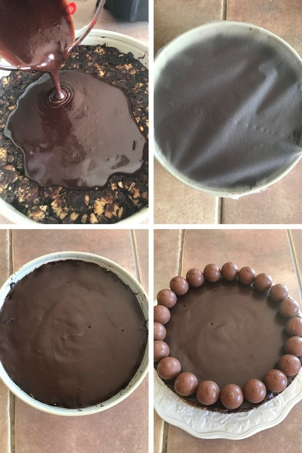 Pouring the chocolate glaze over the no bake chocolate biscuit cake and decorating it with some chocolate balls