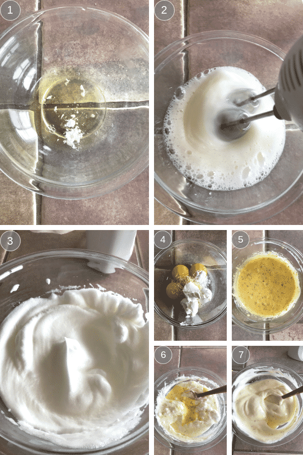 steps for making cloud bread recipe.