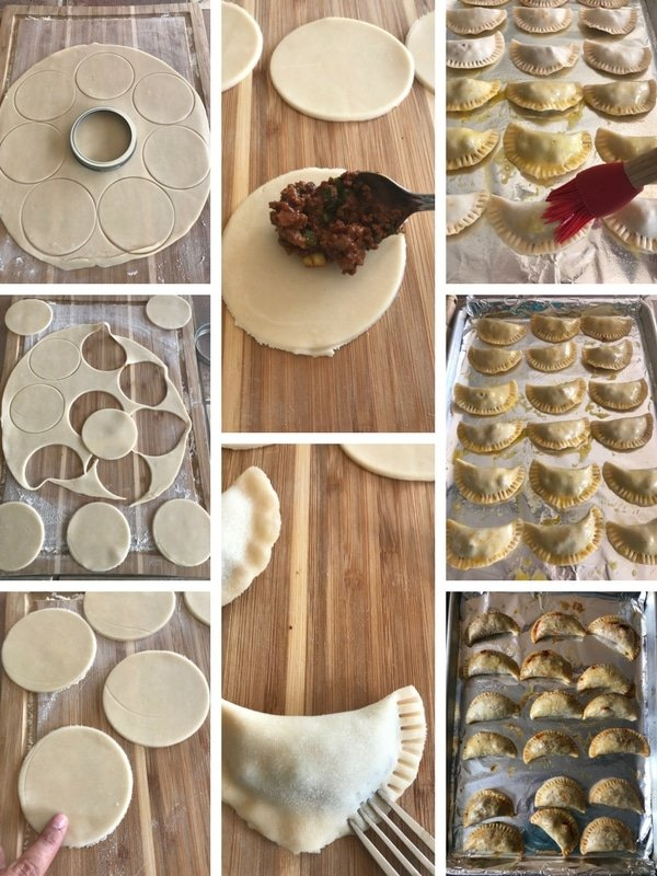 Step by step photos for making empanadas