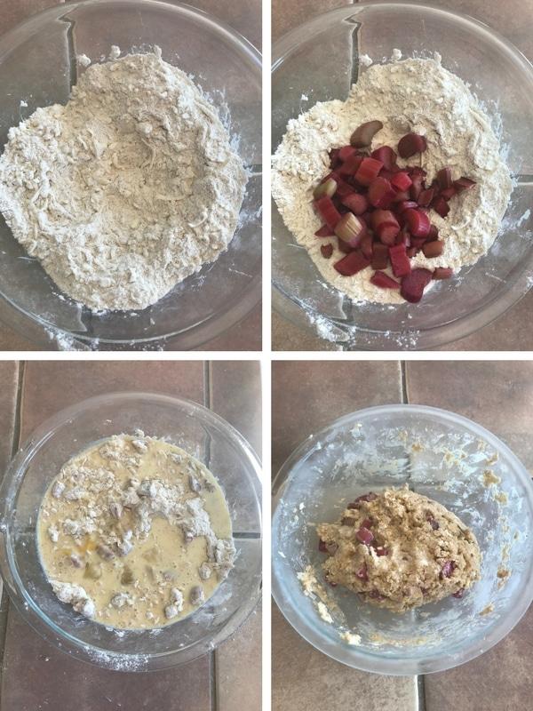 Step by step photos on making Rhubarb scones