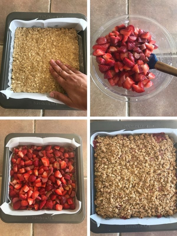 Preparing the strawberry rhubarb filling and assembling the strawberry rhubarb crumble bars