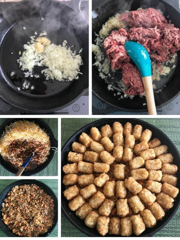 Steps to make taco tater tot casserole with ground beef.