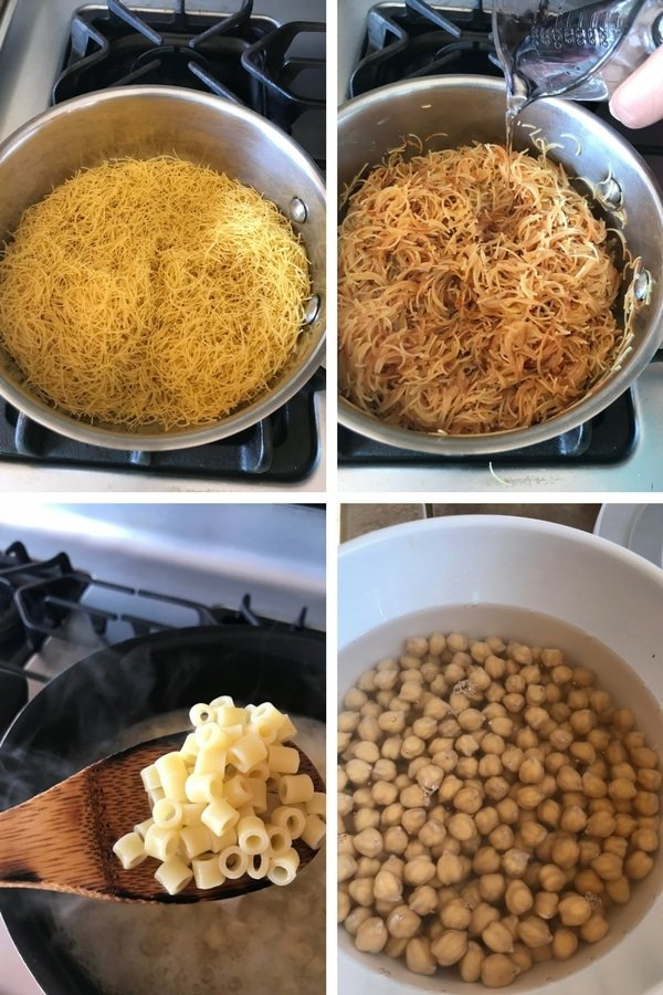 Preparing pastas and soaking chickpeas for Egyptian Koshari
