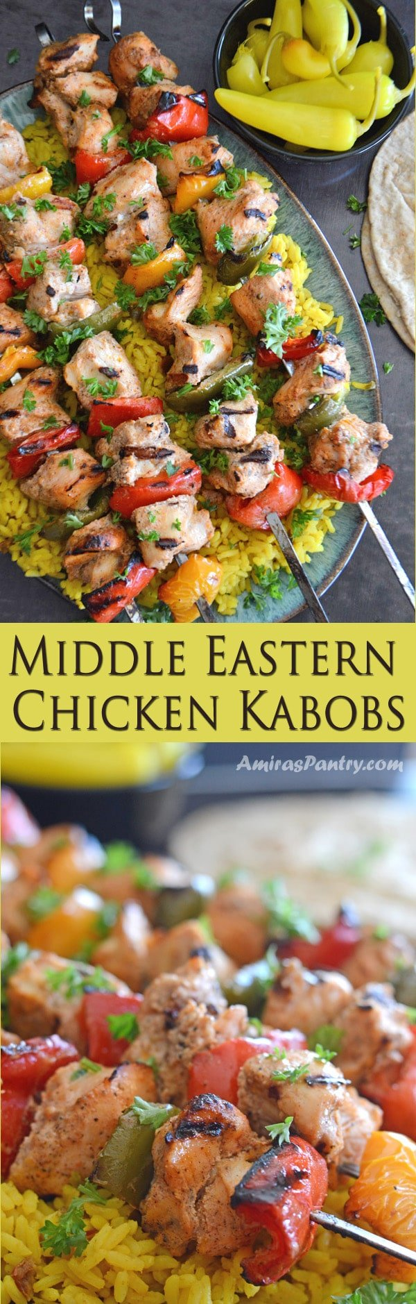 An inforgraph for a food, with Chicken kabob skewers on a plate
