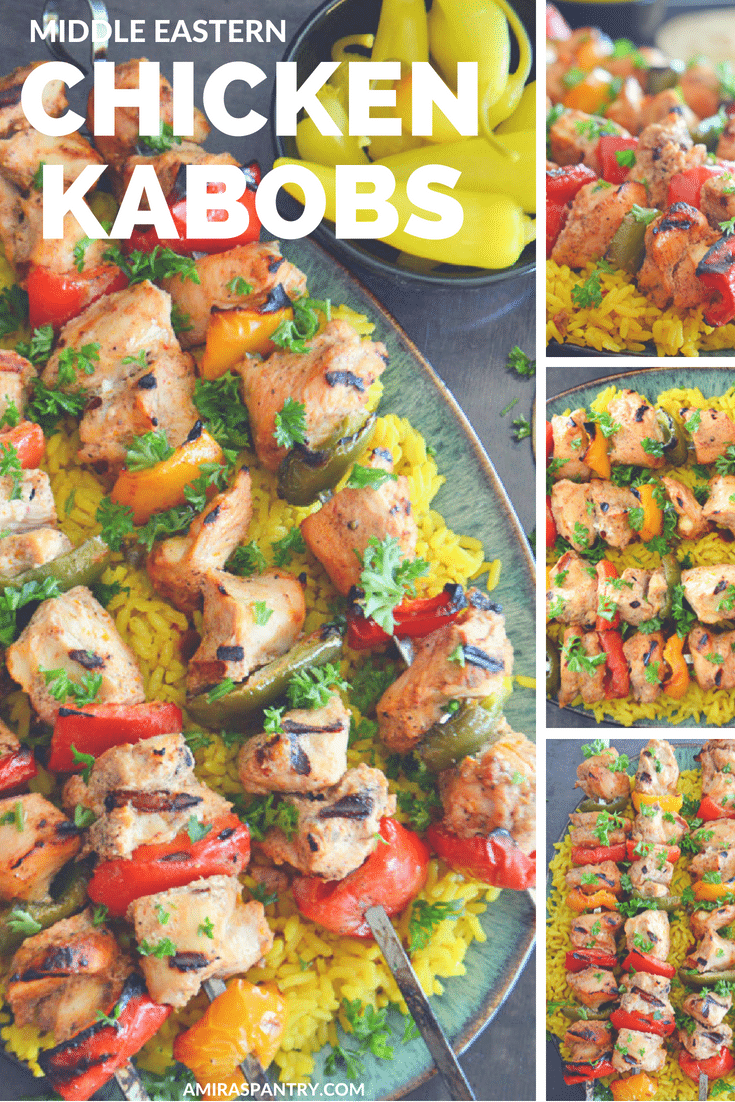 An infograph showing different food photos with Chicken kabob skewers on a plate