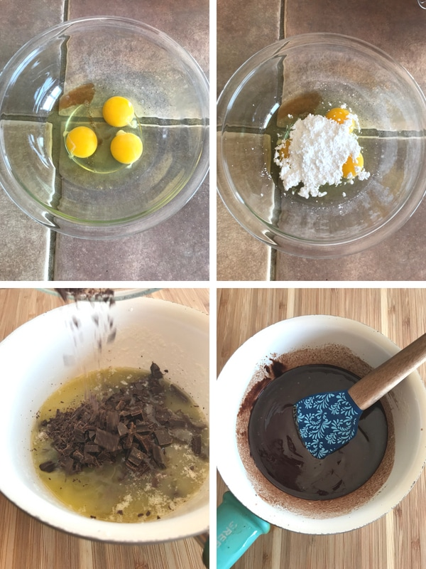 Steps for making chocolate molten lava cake. beating the eggs with sugar and melting chocolate and buttter
