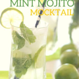 A photo showing a glass with mint mojito and lemons