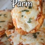 A pinterest image for low carb chicken parmesan.