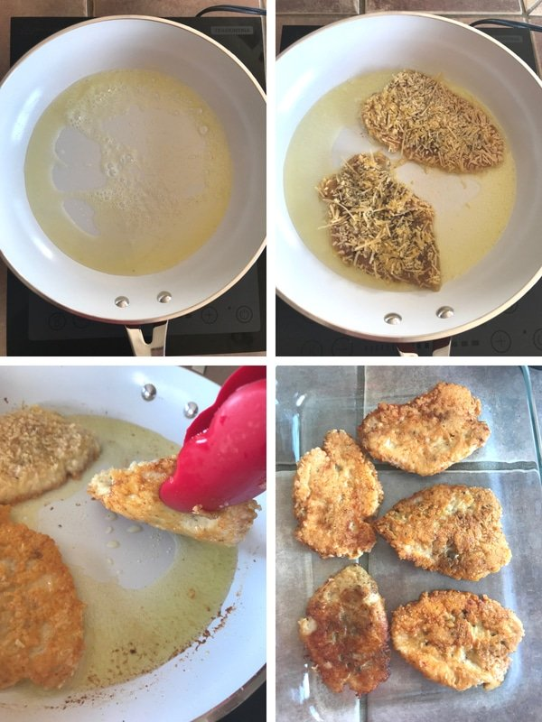 Steps for making low carb chicken parmesan casserole, cooking the chicken in a non-stick pan until golden brown both sides.