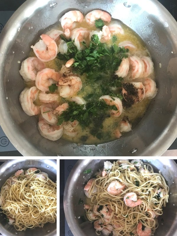 Steps for making buttery shrimp scampi linguine without wine.