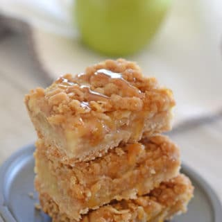 A close up of food on a plate, with Apple crisp bars