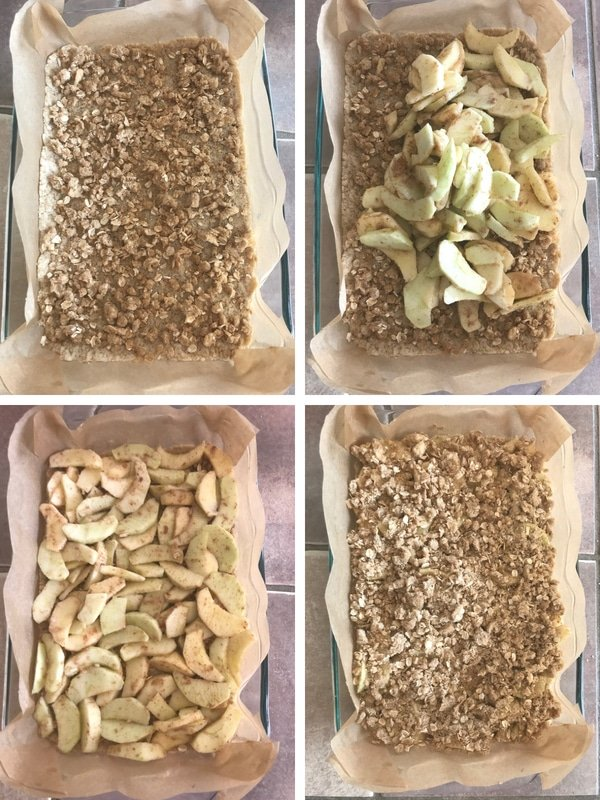 Steps for making apple crisp bars.