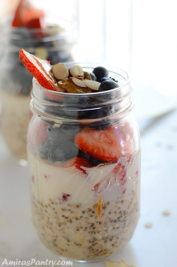 A photo showing Oats, Berries and nuts in a Jar