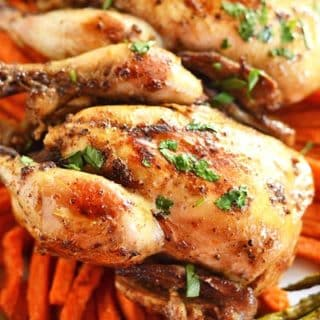 A close up of cornish hen on carrots on a plate