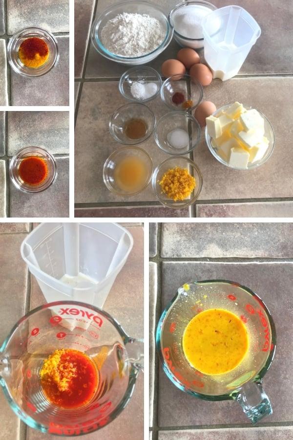 steps to making golden orange saffron bundt cake