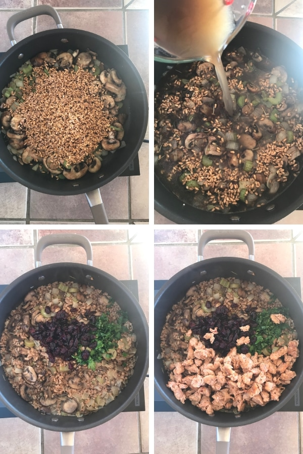 steps for how to make turkey stuffing with Italian sausage.