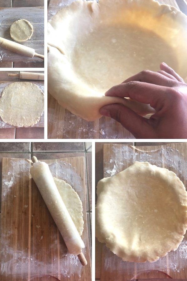 Steps for making homemade buttery pie crust.