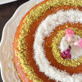 A close up photo of Basbousa Cake on a plate