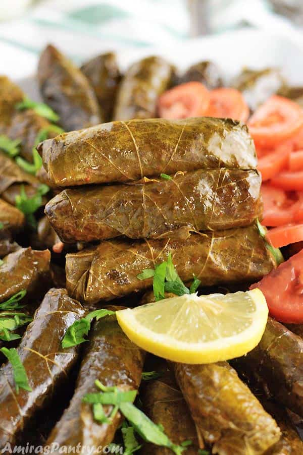 Three stuffed grape leaves stacked on top of eachother with a lemon slice next.