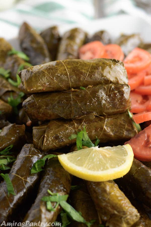 A stack of stuffed grape leaves on a platter full of dolmas and garnished with lemon rings.
