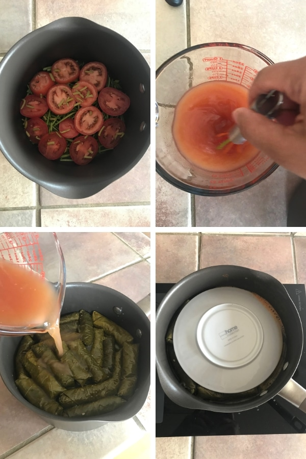 Step by step photos with Grape leaves for Dolmades recipe