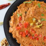 A plate of food with Muhammara