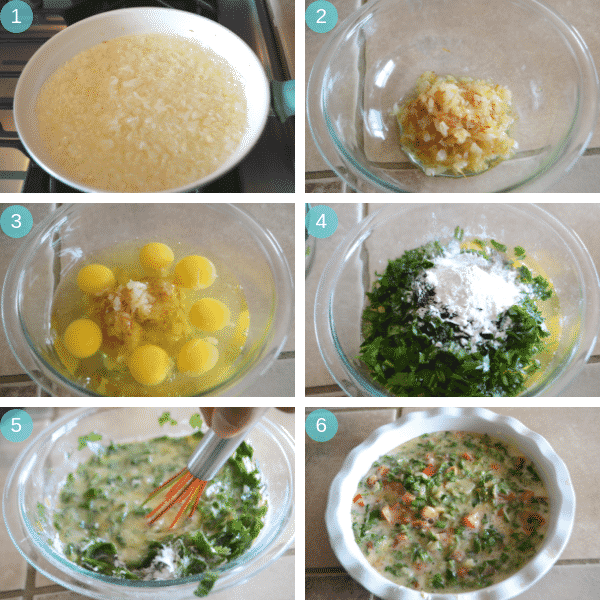 Egyptian breakfast frittata step by step pictures.