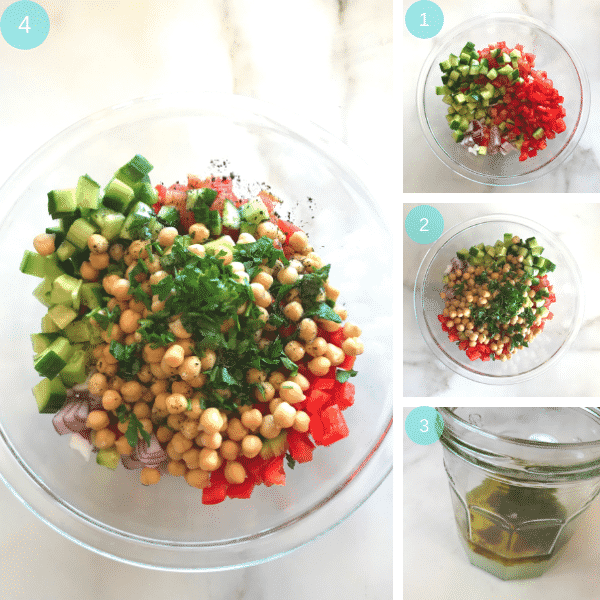 Step by step photos for making Chickpea and Salad