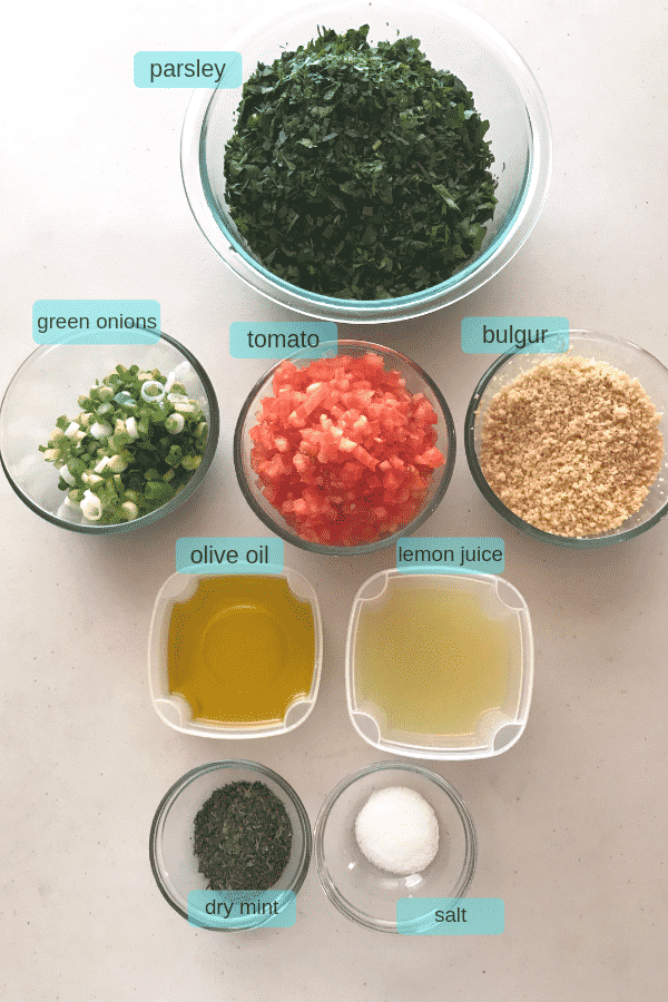 Tabouli salad ingredients.