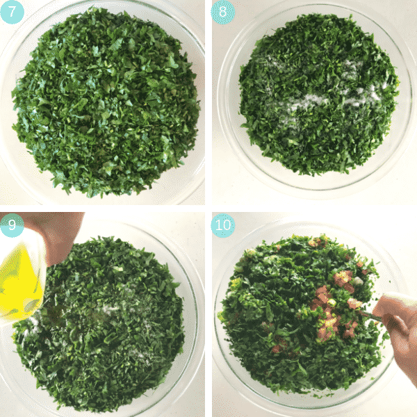 Step by step photos for making Tabbouleh