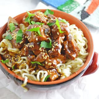 A close up of a plate of food, with Tamarind Chicken and pasta