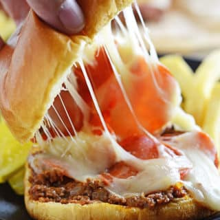 A close up of food, with Pizza burger and cheese