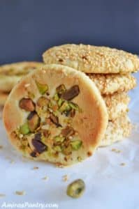 A stack of Barazek cookies with one on the side.