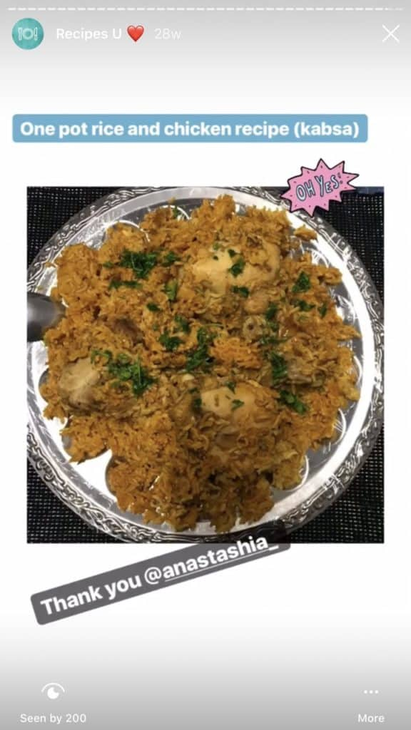 Photo showing Chicken and Rice on a plate made by a fan