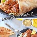 A pinterest collage for chicken shawarma wrap.