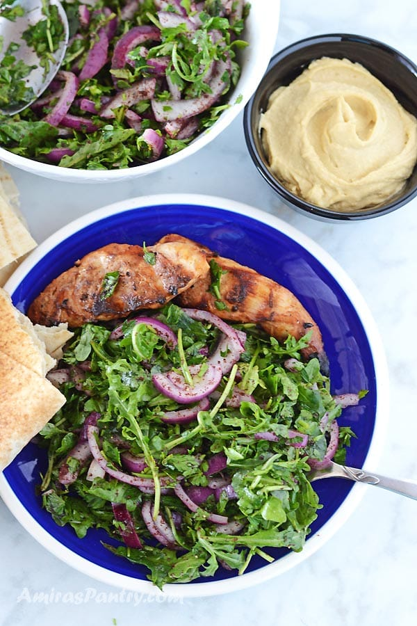 A blue plate with some grilled chicken and arugula salad with some hummus put in a small black bowl on the side.