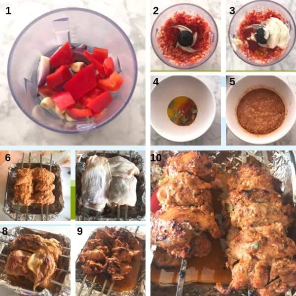 Step by step photos for making chicken shawarma