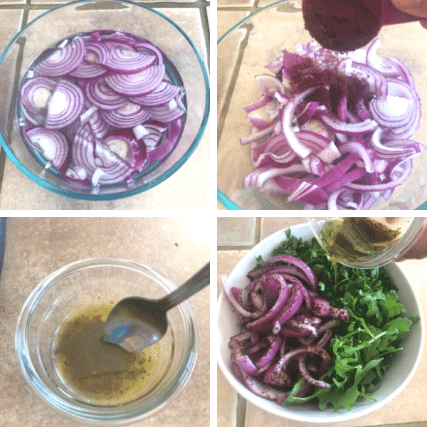 Step by step photos for making arugula salad