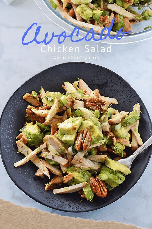pinterest image for avocado chicken salad